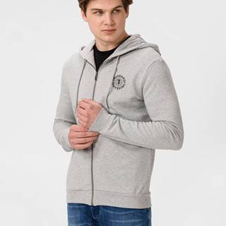 Mikina Trussardi Hoodie Fleence With Print Pure Cotton Regular Fit Šedá